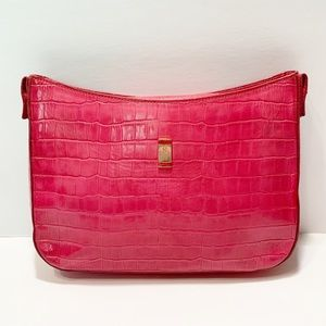 Stubbs & Wootton Pink Leather Faux Crocodile Bag